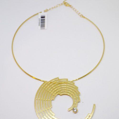 Colar Semi Joia Choker Banhado A Ouro 18K Meio Espiral Com Zircônio